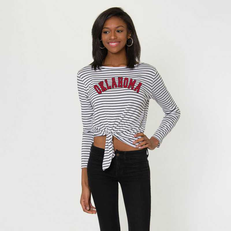 Oklahoma  Tara Long Sleeve Tie-Front Top by Flying Colors