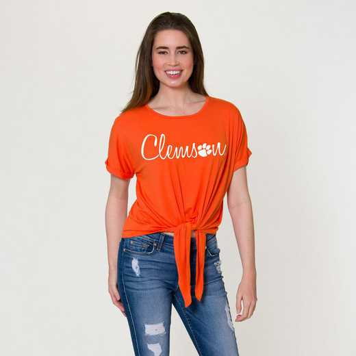 Clemson Tia- Tie Front Short Sleeve Top by Flying Colors