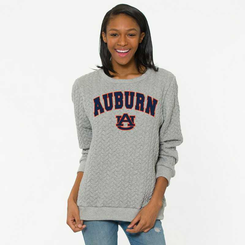 Auburn  Jenny Braided Jacquard Crewneck Sweatshirt by Flying Colors