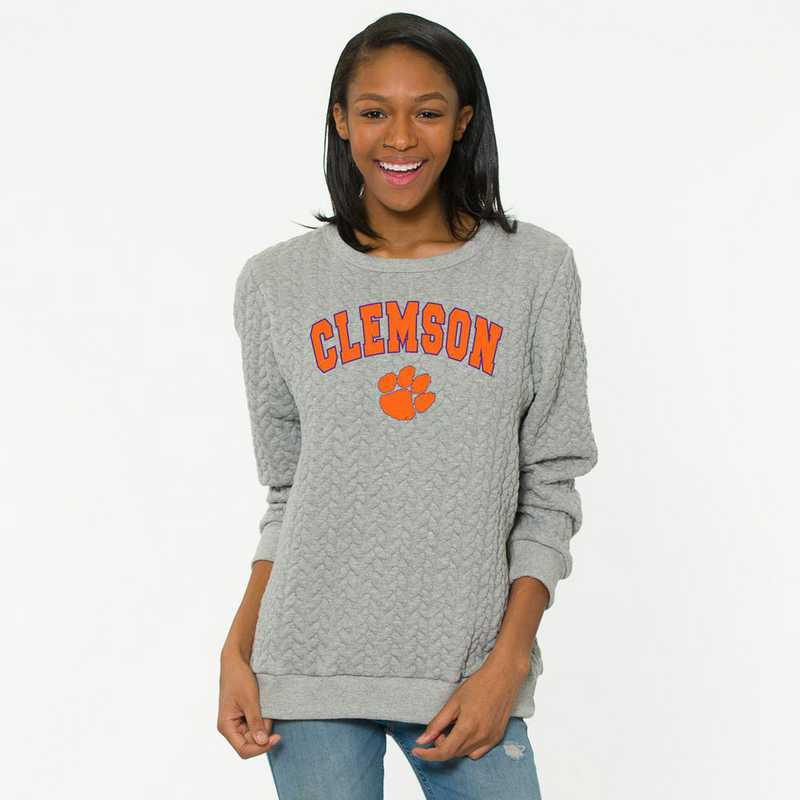 Clemson  Jenny Braided Jacquard Crewneck Sweatshirt by Flying Colors