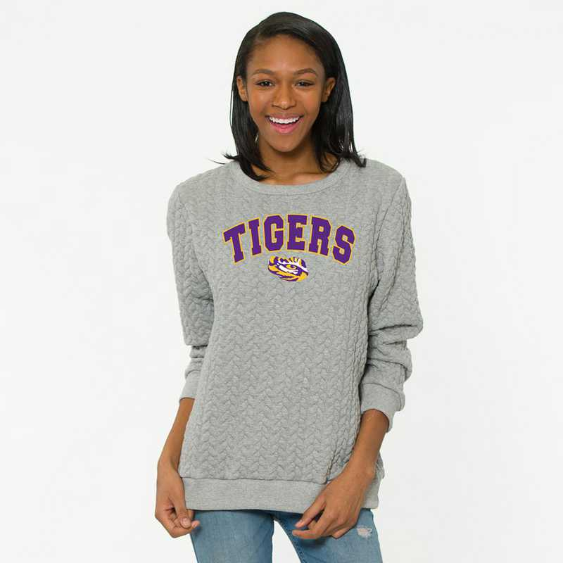 LSU Jenny Braided Jacquard Crewneck Sweatshirt by Flying Colors