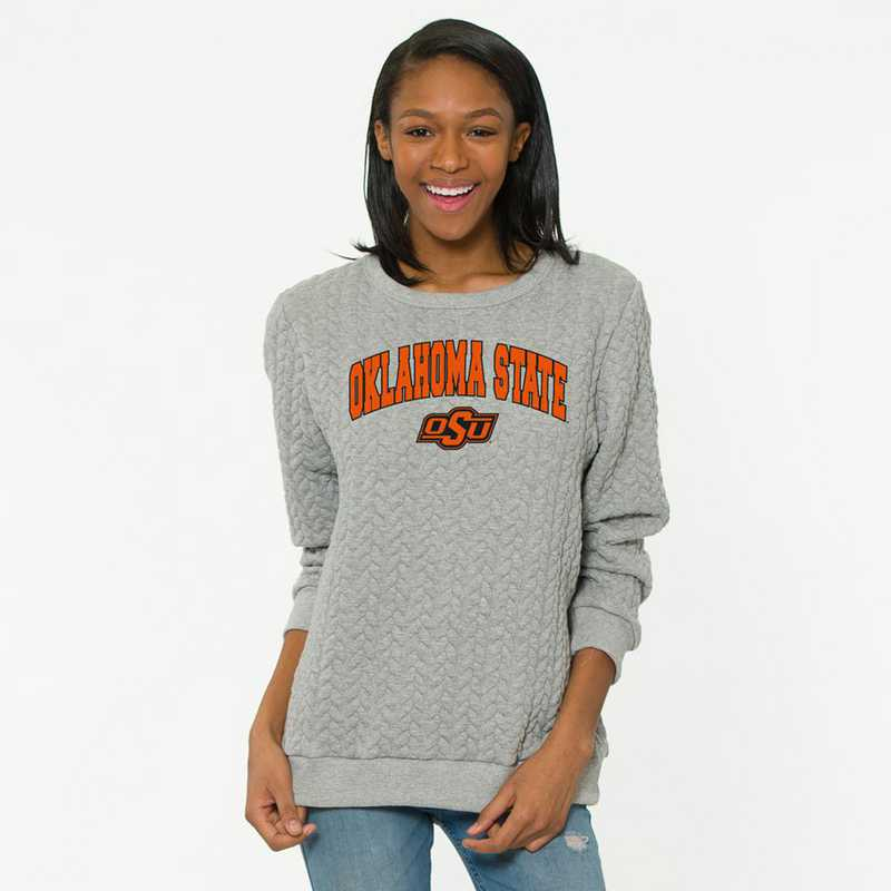 Oklahoma State   Jenny Braided Jacquard Crewneck Sweatshirt by Flying Colors