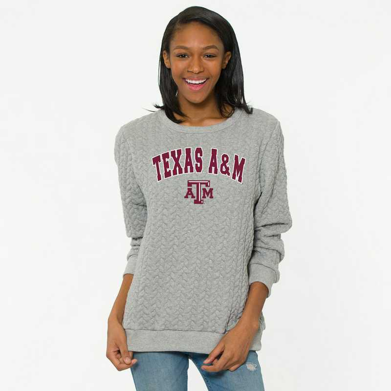 Texas A&M   Jenny Braided Jacquard Crewneck Sweatshirt by Flying Colors