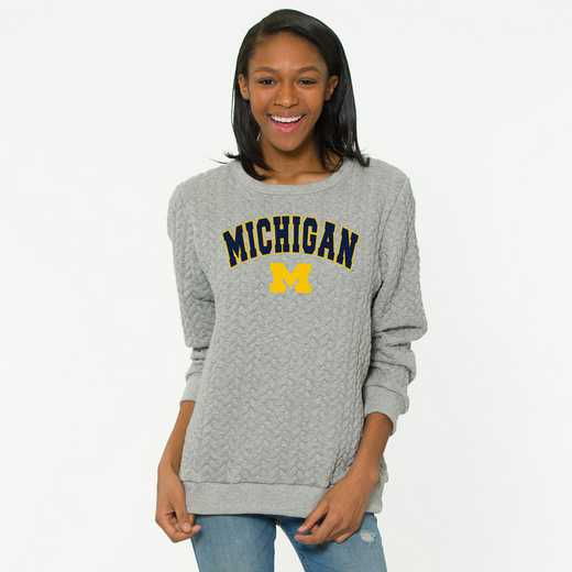 Michigan   Jenny Braided Jacquard Crewneck Sweatshirt by Flying Colors