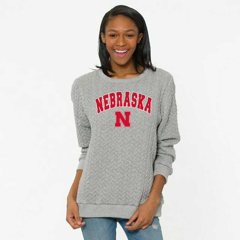Nebraska   Jenny Braided Jacquard Crewneck Sweatshirt by Flying Colors