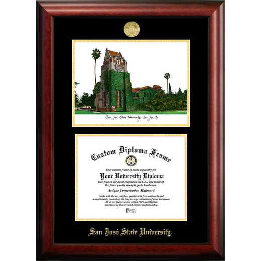 CA929LGED-1185: San Jose State University 11w x 8.5h Gold Embossed Diploma Frame with Campus Images Lithograph
