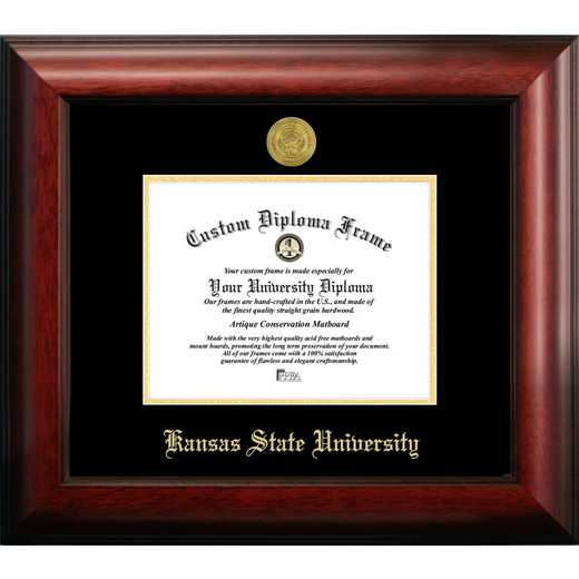 KS998GED-96: Kansas State 9w x6h University Gold Embossed Diploma Frame