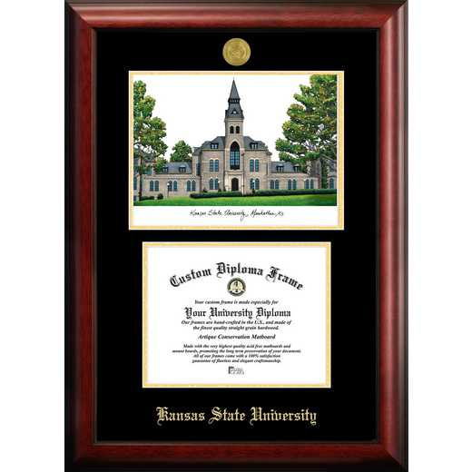 KS998LGED-96: Kansas State University 9w x 6h Gold Embossed Diploma Frame with Campus Images Lithograph