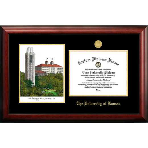 KS999LGED-129: University of Kansas 12w x 9h Gold Embossed Diploma Frame with Campus Images Lithograph
