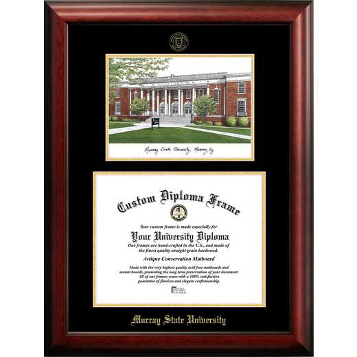 KY984LGED-1411: Murray State University 14w x 11h Gold Embossed Diploma Frame with Campus Images Lithograph