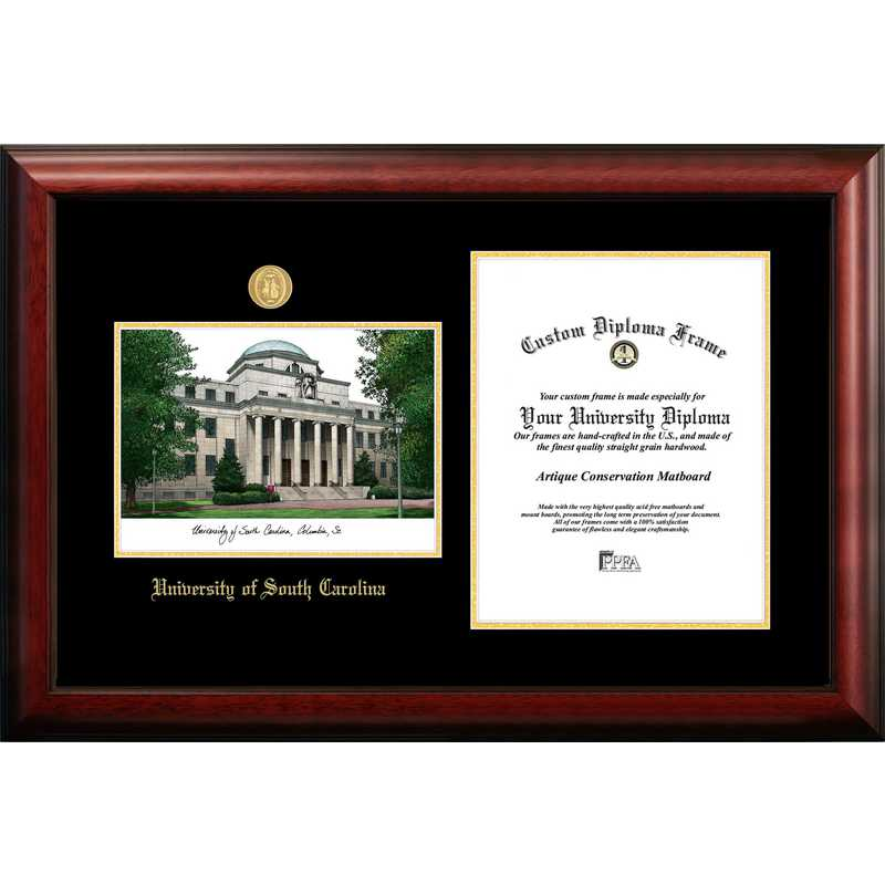 SC995LGED-1114: University of South Carolina 11w x 14h Gold Embossed Diploma Frame with Campus Images Lithograph