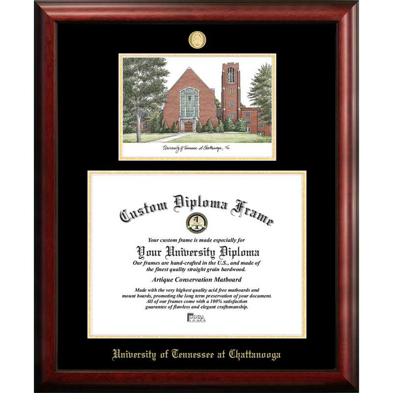 TN997LGED-1714: University of Tennessee, Chattanooga 17w x 14h Gold Embossed Diploma Frame with Campus Images Lithograph