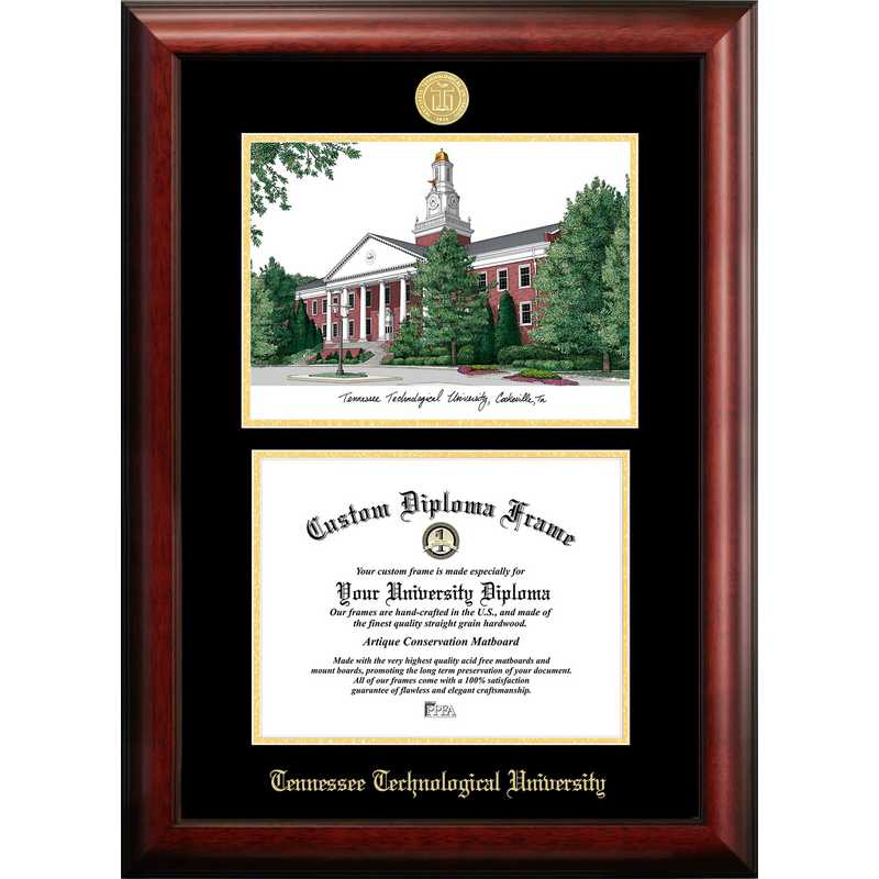 TN998LGED-1185: Tennessee Tech University 11w x 8.5h Gold Embossed Diploma Frame with Campus Images Lithograph
