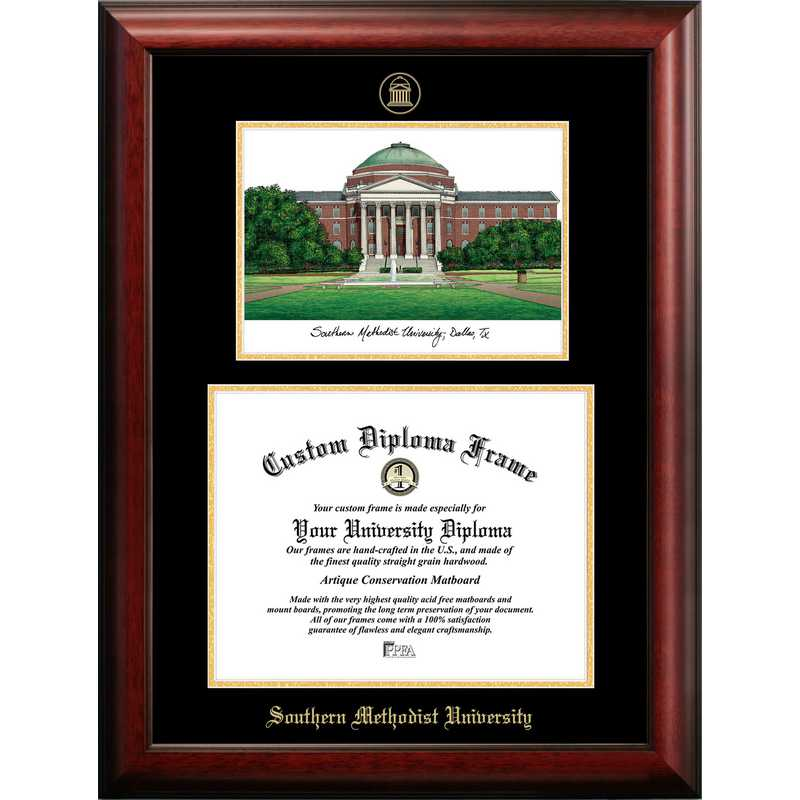 TX944LGED-1411: Southern Methodist University 14w x 11h Gold Embossed Diploma Frame with Campus Images Lithograph