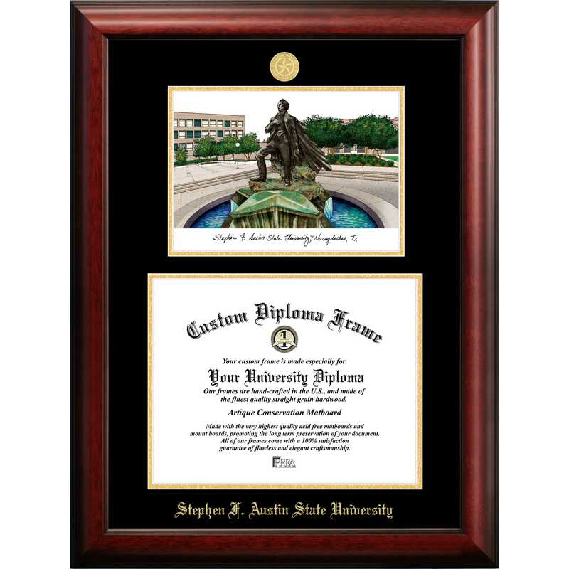 TX945LGED-1411: Stephen F Austin 14w x 11h Gold Embossed Diploma Frame with Campus Images Lithograph