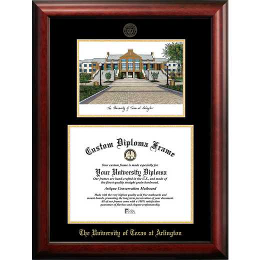 TX946LGED-1411: University of Texas, Arlington 14w x 11h Gold Embossed Diploma Frame with Campus Images Lithograph
