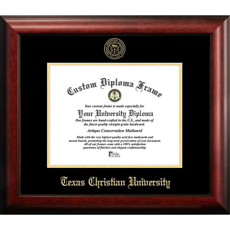 TX949GED-1185: Texas Christian University 11w x 8.5h Gold Embossed Diploma Frame