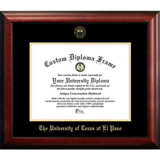 TX951GED-1411: University of Texas, El Paso 14w x 11h Gold Embossed Diploma Frame