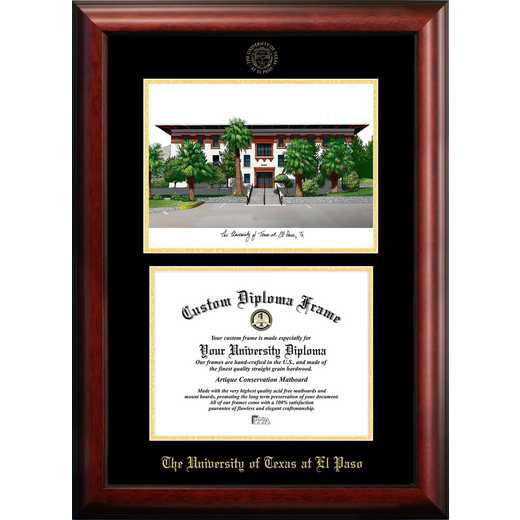 TX951LGED-1185: University of Texas, El Paso 11w x 8.5h Gold Embossed Diploma Frame with Campus Images Lithograph