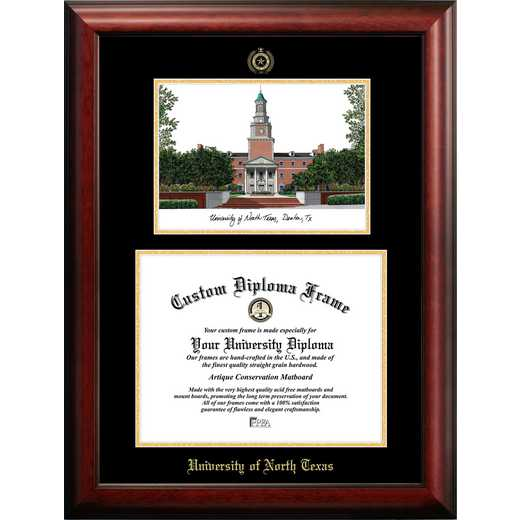TX952LGED-1411: University of North Texas 14w x 11h Gold Embossed Diploma Frame with Campus Images Lithograph