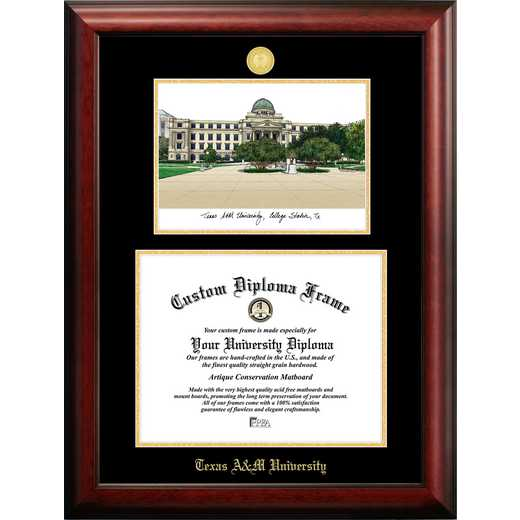 TX953LGED-16125: Texas A&M University 16w x 12.5h Gold Embossed Diploma Frame with Campus Images Lithograph
