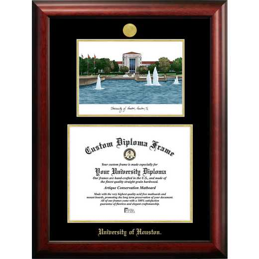 TX954LGED-1411: University of Houston 14w x 11h Gold Embossed Diploma Frame with Campus Images Lithograph