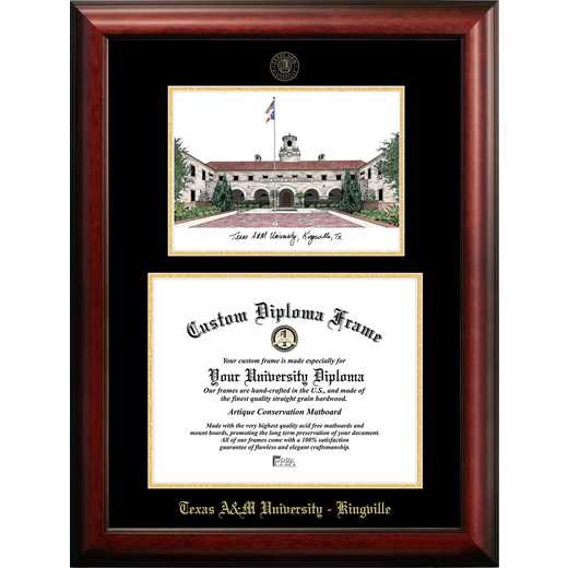 TX982LGED-1411: Texas A&M Kingsville 14w x 11h University Gold Embossed Diploma Frame with Campus Images Lithograph