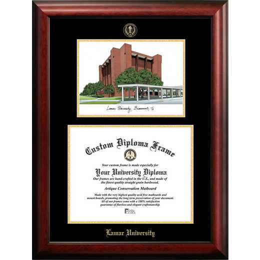 TX994LGED-1411: Lamar University 14w x 11h Gold Embossed Diploma Frame with Campus Images Lithograph