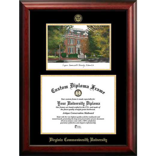 VA983LGED-1411: Virginia Commonwealth University 14w x 11h Gold Embossed Diploma Frame with Campus Images Lithograph