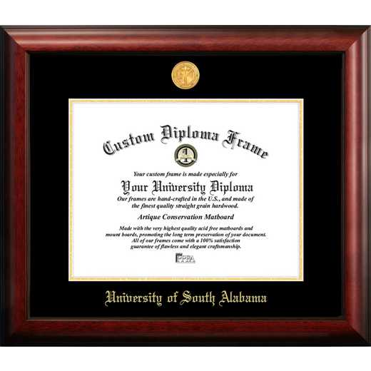 AL991GED-1512: University of South Alabama 15w x 12h Gold Embossed Diploma Frame