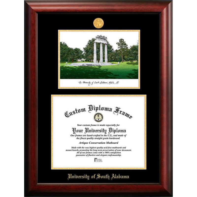 AL991LGED-1512: University of South Alabama 15w x 12h Gold Embossed Diploma Frame with Campus Images Lithograph