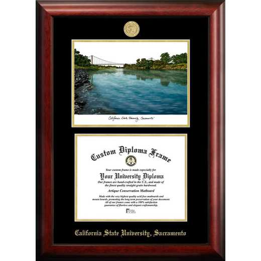 CA925LGED-1185: California State Sacramento University 11w x 8.5h Gold Embossed Diploma Frame with Campus Images Lithograph