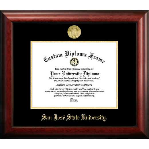 CA929GED-1185: San Jose State University 11w x 8.5h Gold Embossed Diploma Frame