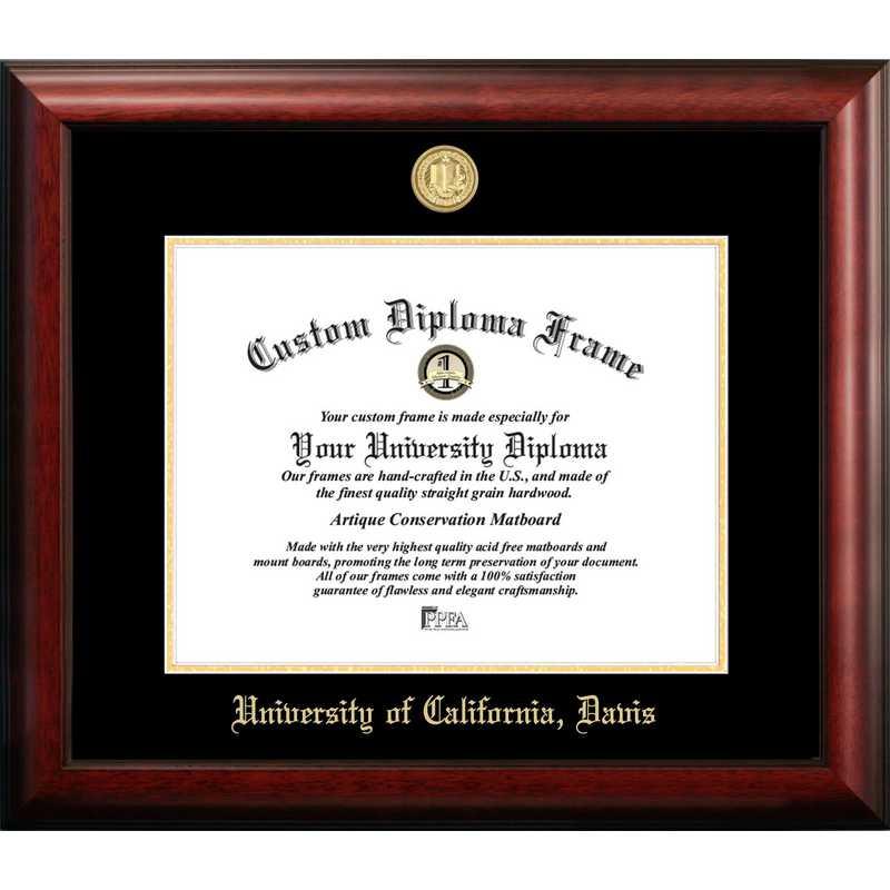 CA942GED-1711: University of California, Davis 17w x 11h Gold Embossed Diploma Frame