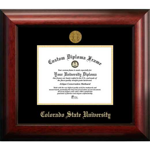CO999GED-97: Colorado State University 9w x 7h Gold Embossed Diploma Frame