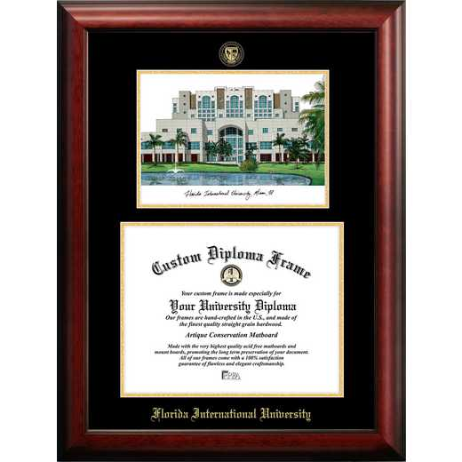 FL984LGED-1411: Florida International University 14w x 11h Gold Embossed Diploma Frame with Campus Images Lithograph