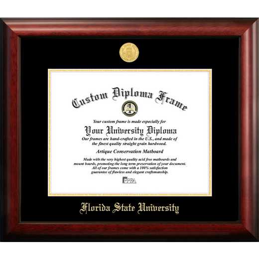 FL985GED-1411: Florida State University 14w x 11h Gold Embossed Diploma Frame