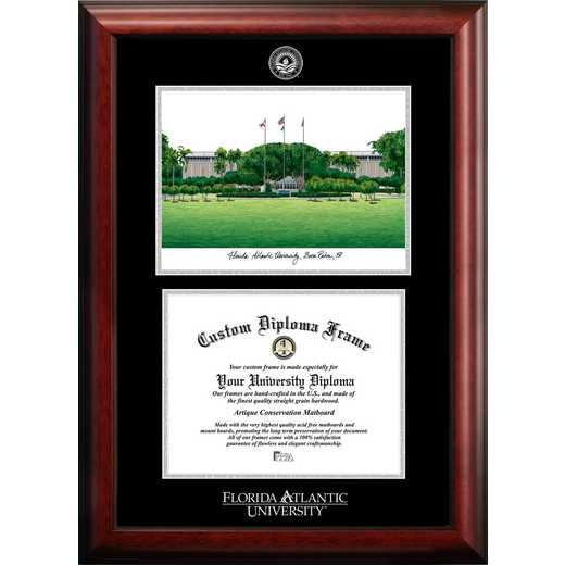 FL986LGED-1185: Florida Atlantic University 11w x 8.5h Silver Embossed Diploma Frame with Campus Images Lithograph