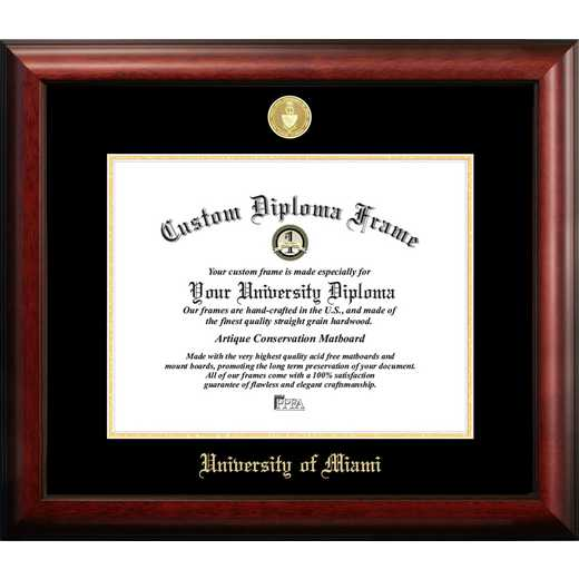 FL988GED-1411: University of Miami 14w x 11h Gold Embossed Diploma Frame