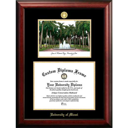FL988LGED-1411: University of Miami 14w x 11h Gold Embossed Diploma Frame with Campus Images Lithograph