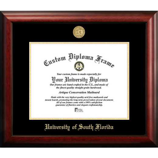 FL989GED-1411: University of South Florida 14w x 11h Gold Embossed Diploma Frame