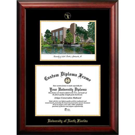 FL993LGED-1411: University of North Florida 14w x 11h Gold Embossed Diploma Frame with Campus Images Lithograph