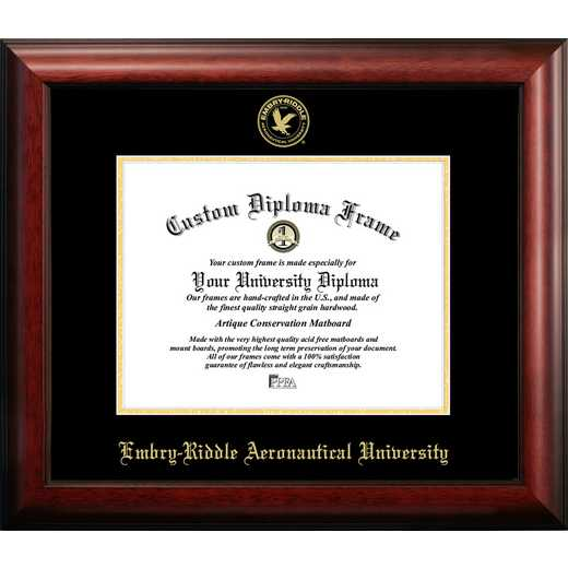FL995GED-1185: Embry-Riddle Eagles 11wx 8.5h Gold Embossed Diploma Frame