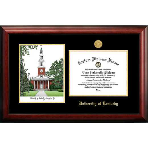 KY998LGED-1185: University of Kentucky 11w x 8.5h Gold Embossed Diploma Frame with Campus Images Lithograph
