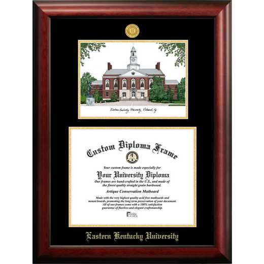 KY999LGED-1512: Eastern Kentucky University 15w x 12h Gold Embossed Diploma Frame with Campus Images Lithograph