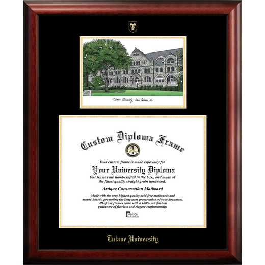 LA995LGED-1714: Tulane University 17w x 14h Gold Embossed Diploma Frame with Campus Images Lithograph
