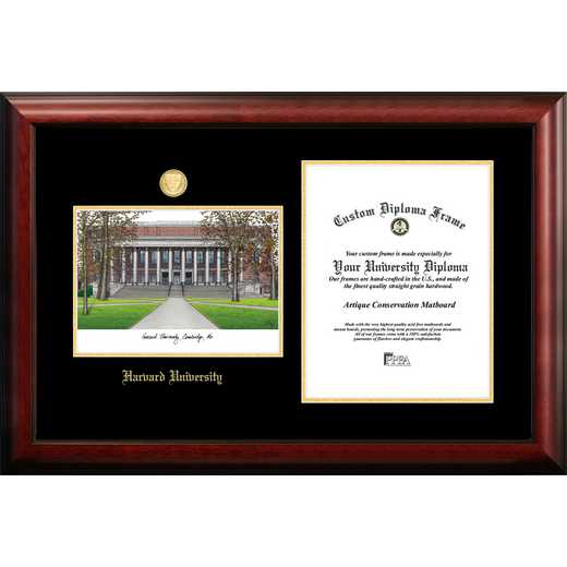 MA992LGED-1114: Harvard University 11w x 14h Gold Embossed Diploma Frame with Campus Images Lithograph