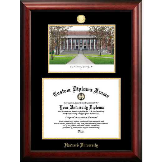 MA992LGED-1411: Harvard University 14w x 11h Gold Embossed Diploma Frame with Campus Images Lithograph