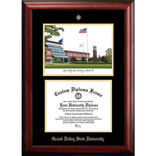 MI980LGED-108: Grand Valley State University 10w x 8h Gold Embossed Diploma Frame with Campus Images Lithograph