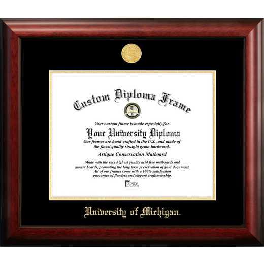 MI982GED-1411: University of Michigan 14w x 11h Gold Embossed Diploma Frame